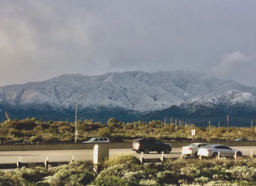 dusting of snow on the San Gabriels, viewed from Upland