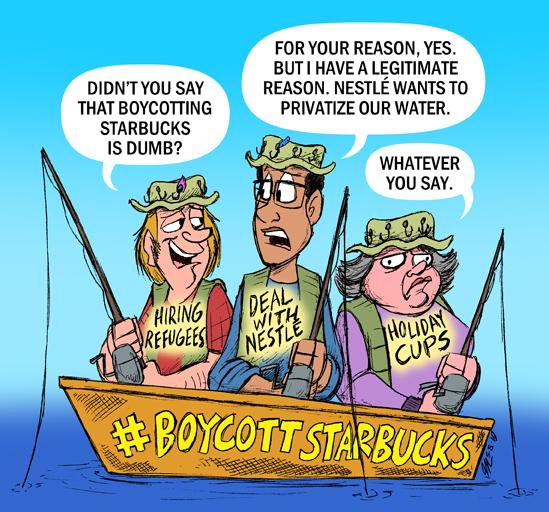 fishermen discussing boycotting Nestle/Starbucks deal