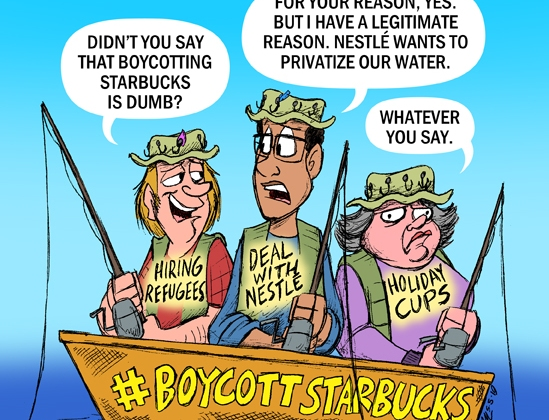 fishermen discussing boycotting Nestle/Starbucks deal